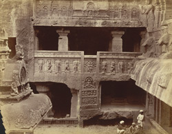 [Left wing of the Indra Sabha Jain Cave Temple (Cave XXXII), Ellora.]